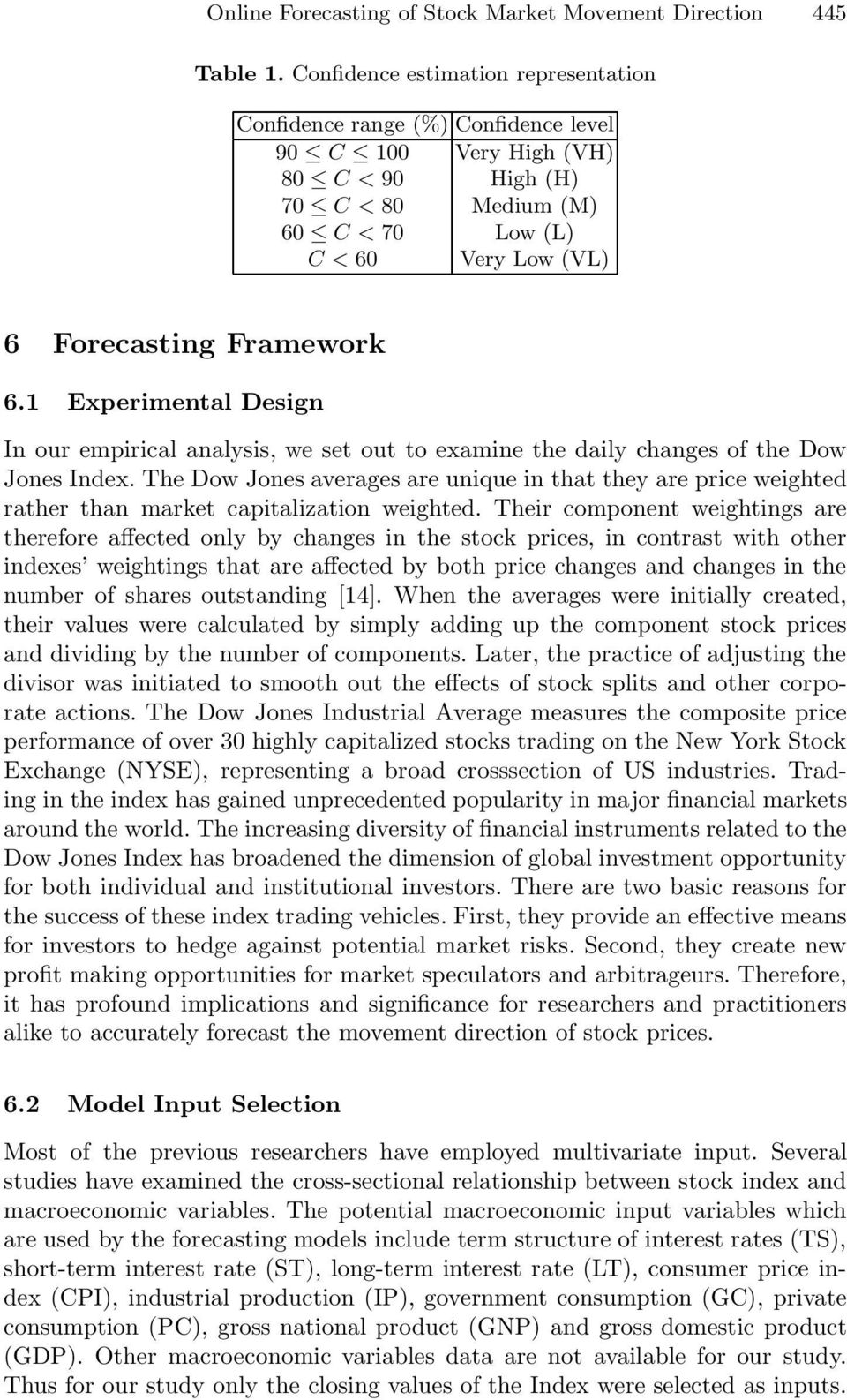 1 Experimental Design In our empirical analysis, we set out to examine the daily changes of the Dow Jones Index.