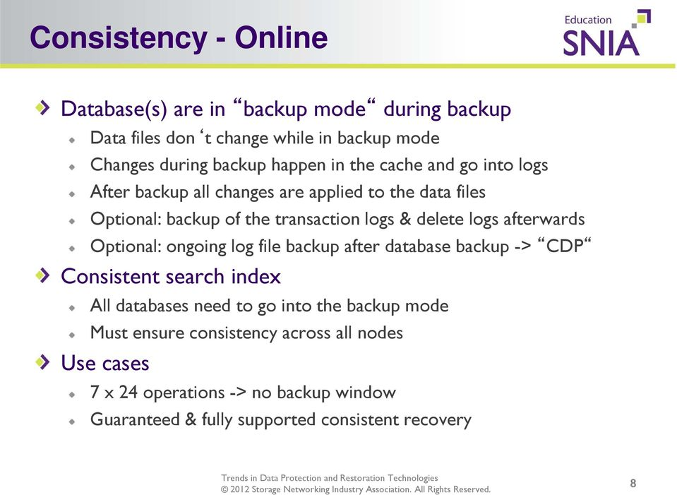 afterwards Optional: ongoing log file backup after database backup -> CDP Consistent search index All databases need to go into the backup