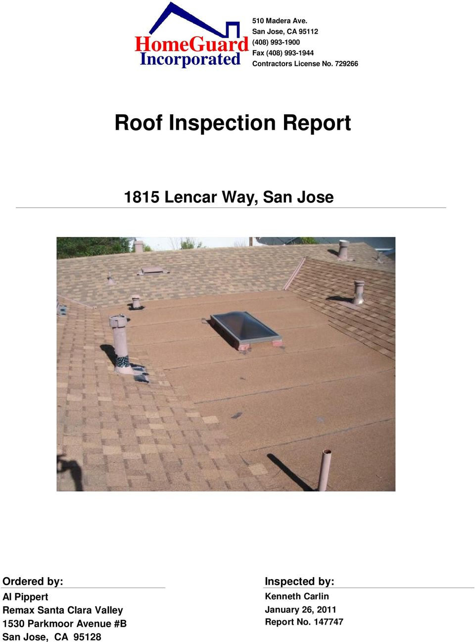 Homeguard Roof Inspection Report Pdf