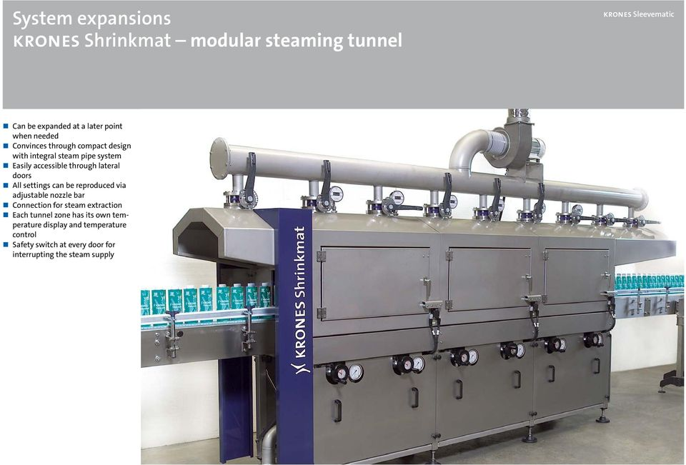 All settings can be reproduced via adjustable nozzle bar Connection for steam extraction Each tunnel zone