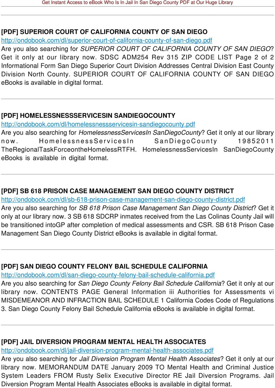 SDSC ADM254 Rev 315 ZIP CODE LIST Page 2 of 2 Informational Form San Diego Superior Court Division Addresses Central Division East County Division North County.