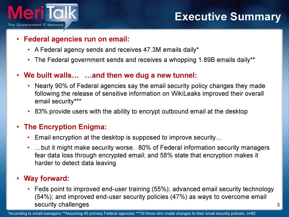 WikiLeaks improved their overall email security*** 83% provide users with the ability to encrypt outbound email at the desktop The Encryption Enigma: Email encryption at the desktop is supposed to