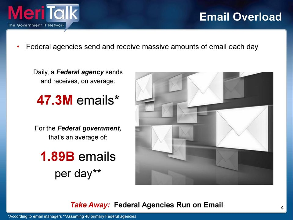 3M emails* For the Federal government, that s an average of: 1.