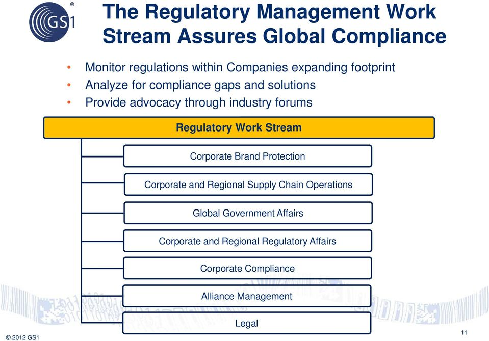 Regulatory Work Stream Corporate Brand Protection Corporate and Regional Supply Chain Operations Global