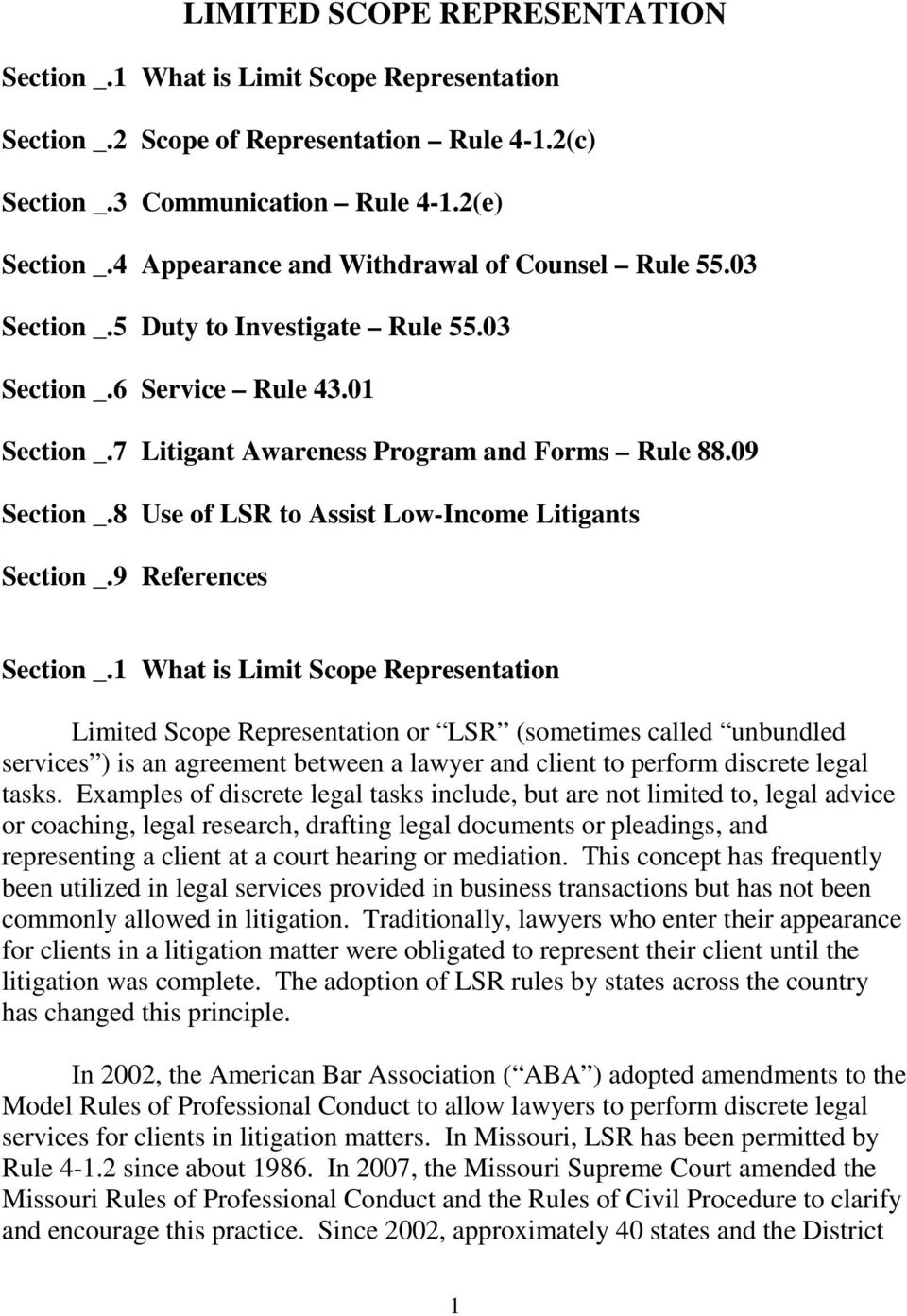 8 Use of LSR to Assist Low-Income Litigants Section _.9 References Section _.