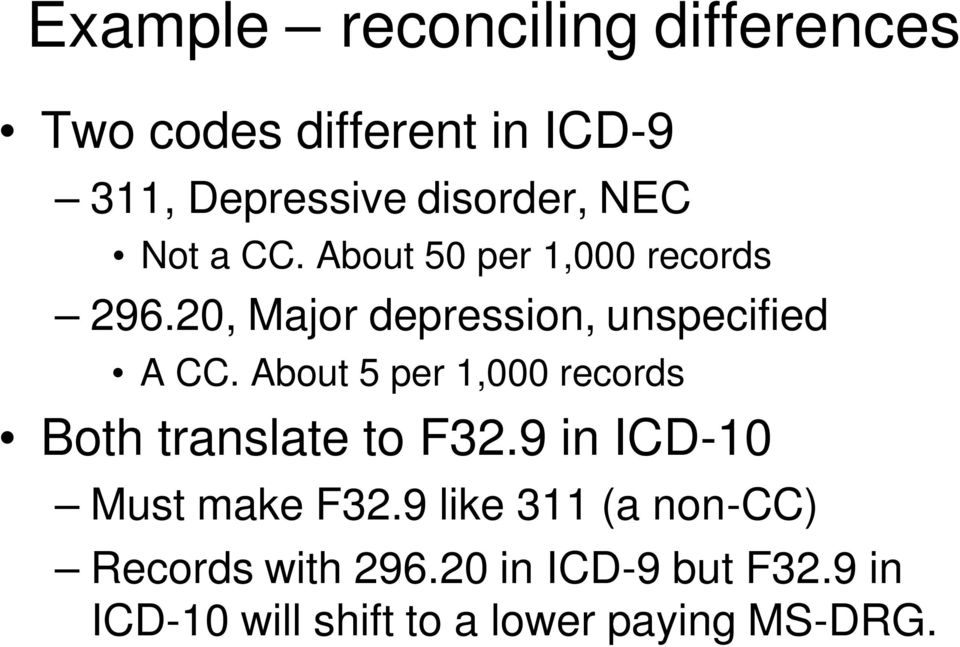 About 5 per 1,000 records Both translate to F32.9 in ICD-10 Must make F32.