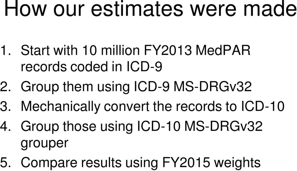 Group them using ICD-9 MS-DRGv32 3.