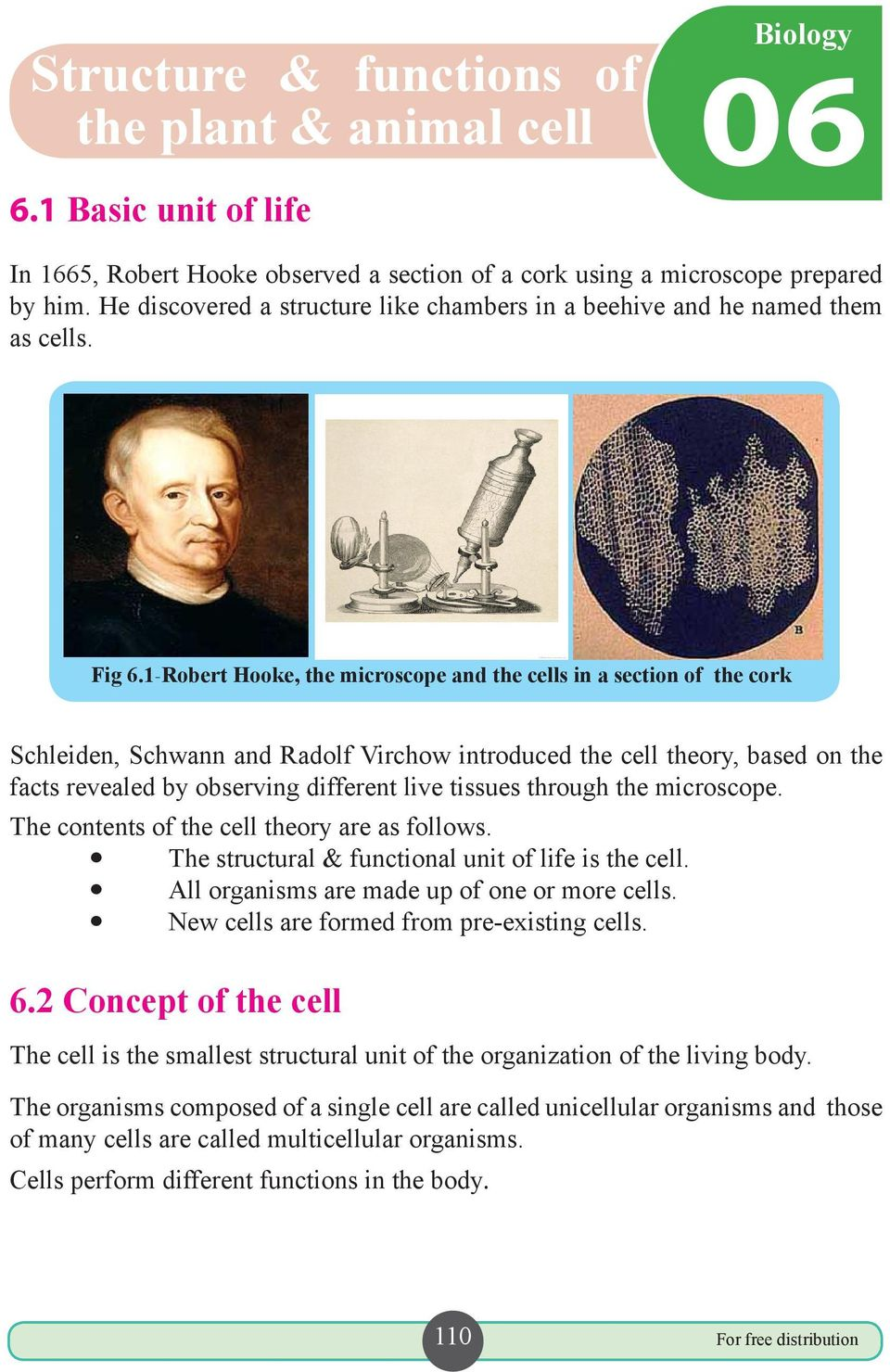 1-Robert Hooke, the microscope and the cells in a section of the cork Schleiden, Schwann and Radolf Virchow introduced the cell theory, based on the facts revealed by observing different live tissues