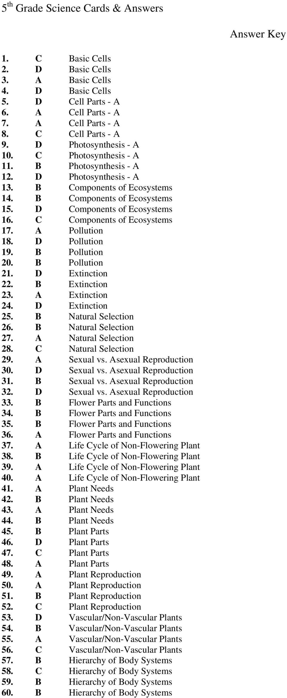 A Pollution 18. D Pollution 19. B Pollution 20. B Pollution 21. D Extinction 22. B Extinction 23. A Extinction 24. D Extinction 25. B Natural Selection 26. B Natural Selection 27.