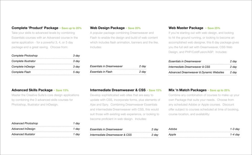 Choose from: Complete Photoshop Web Design Package - Save 20% A popular package combining Dreamweaver and Flash to enable the design and build of web content which includes flash animation, banners