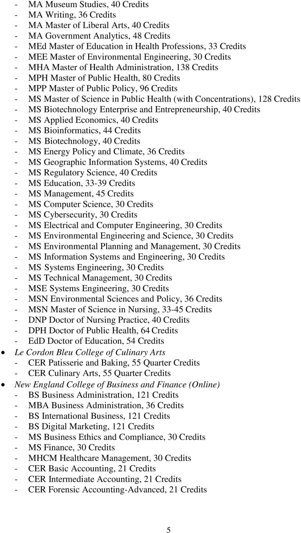 of Science in Public Health (with Concentrations), 128 Credits - MS Biotechnology Enterprise and Entrepreneurship, 40 Credits - MS Applied Economics, 40 Credits - MS Bioinformatics, 44 Credits - MS