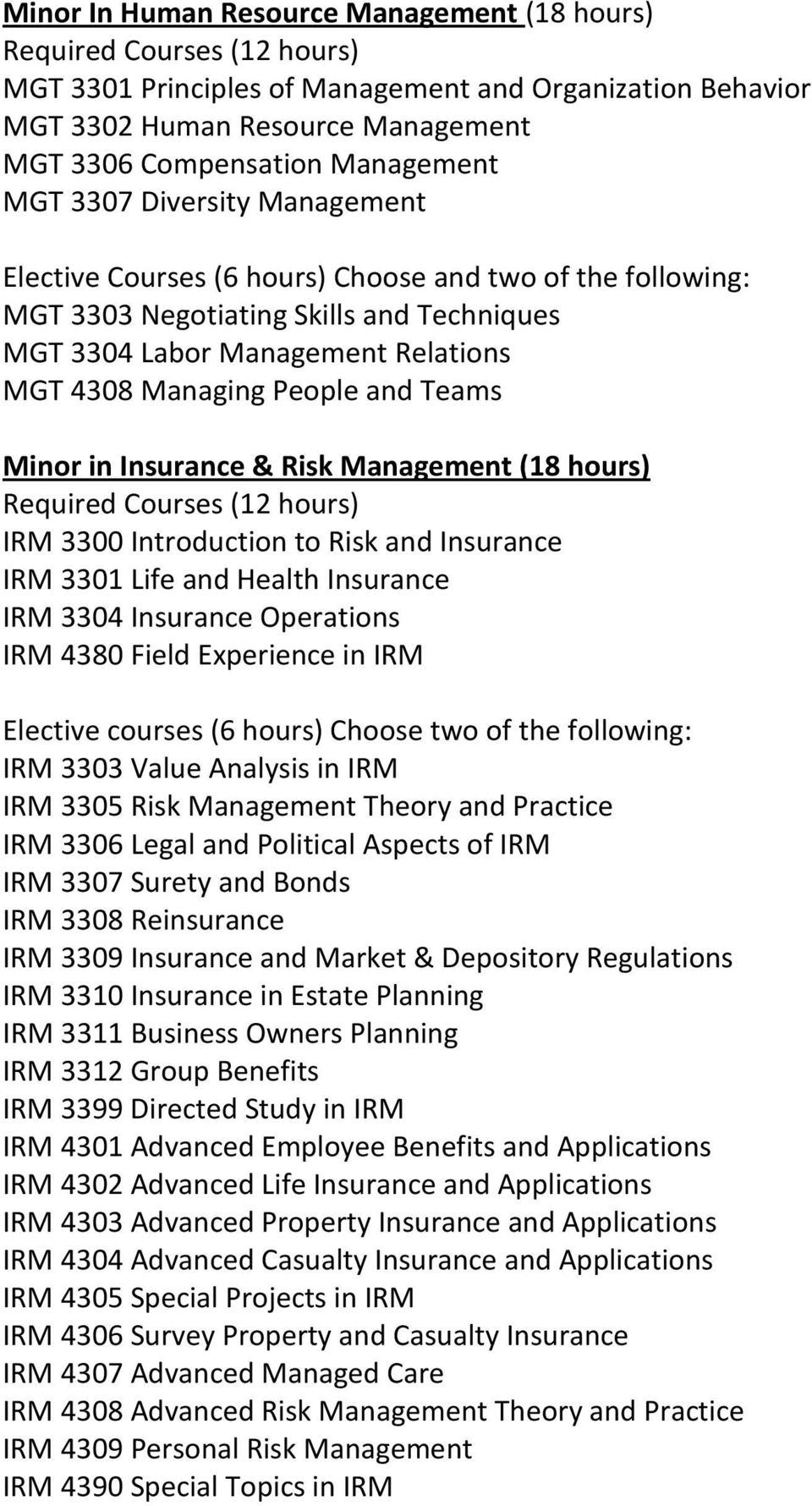 Introduction to Risk and Insurance IRM 3301 Life and Health Insurance IRM 3304 Insurance Operations IRM 4380 Field Experience in IRM Elective courses (6 hours) Choose two of the following: IRM 3303
