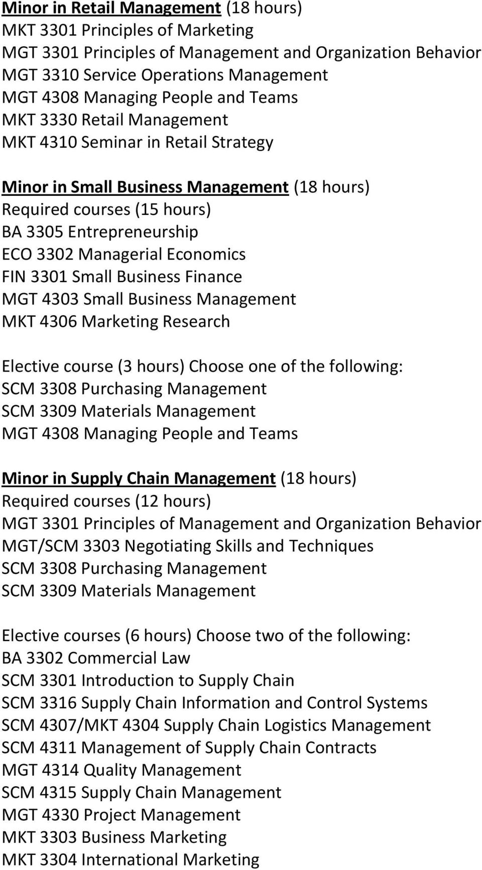 Choose one of the following: SCM 3308 Purchasing Management SCM 3309 Materials Management Minor in Supply Chain Management (18 hours) Required courses (12 hours) SCM 3308 Purchasing Management SCM