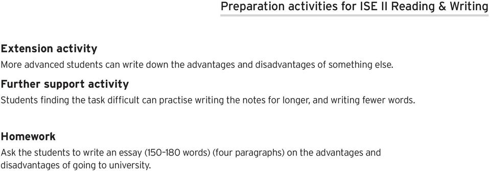 Further support activity Students finding the task difficult can practise writing the notes