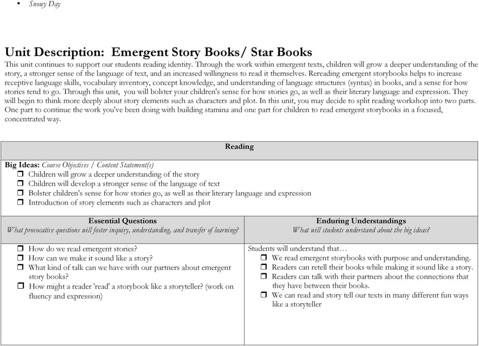 Rereading emergent storybooks helps to increase receptive language skills, vocabulary inventory, concept knowledge, and understanding of language structures (syntax) in books, and a sense for how