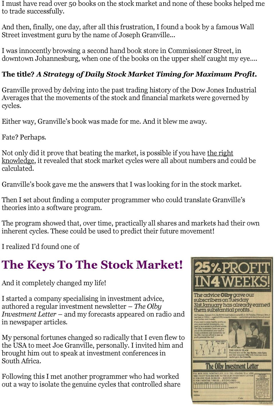 granvilles new strategy of daily stock market timing for maximum profit