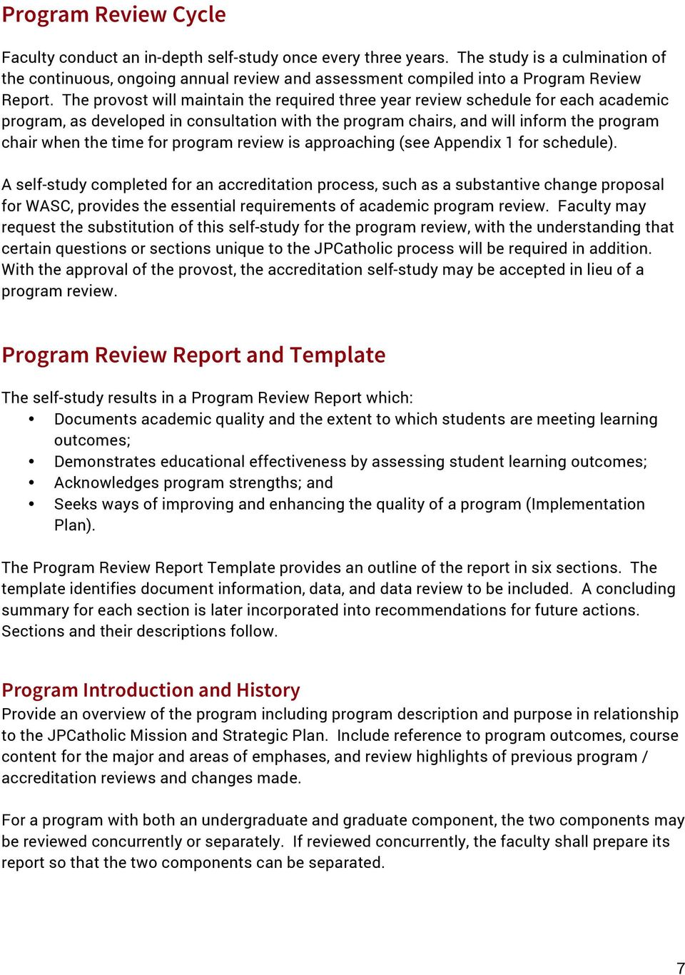 program review is approaching (see Appendix 1 for schedule).