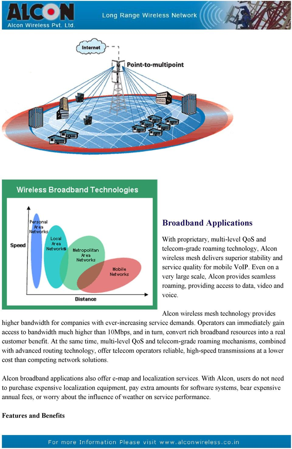 Alcon wireless mesh technology provides higher bandwidth for companies with ever-increasing service demands.
