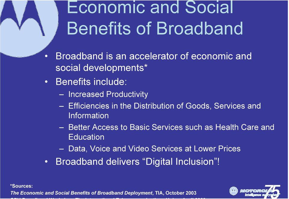 Better Access to Basic Services such as Health Care and Education Data, Voice and Video Services at Lower Prices
