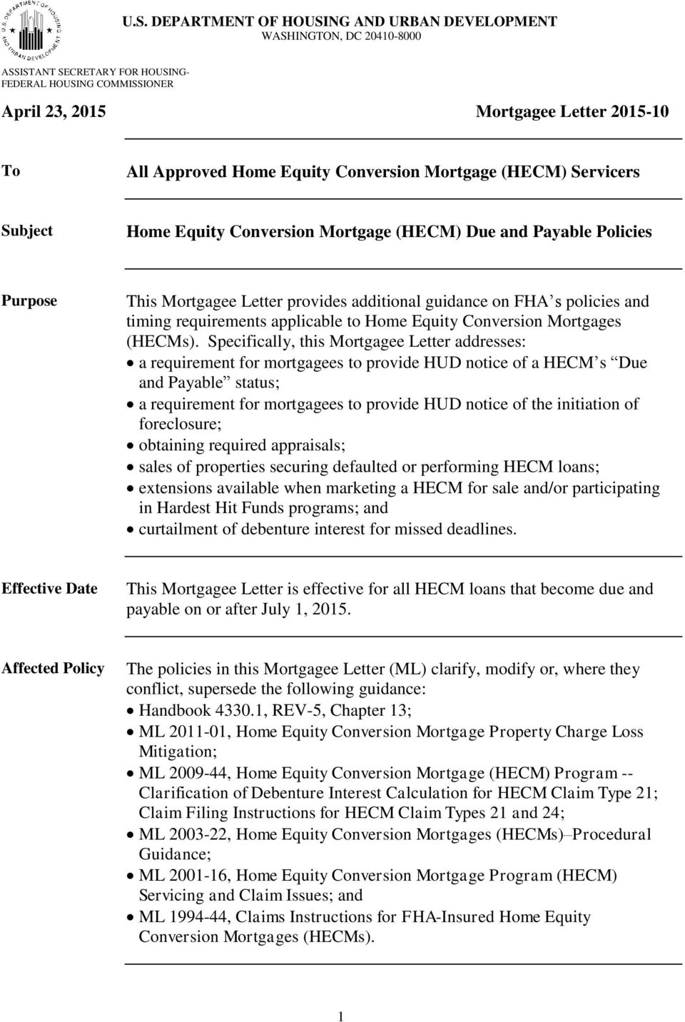 timing requirements applicable to Home Equity Conversion Mortgages (HECMs).