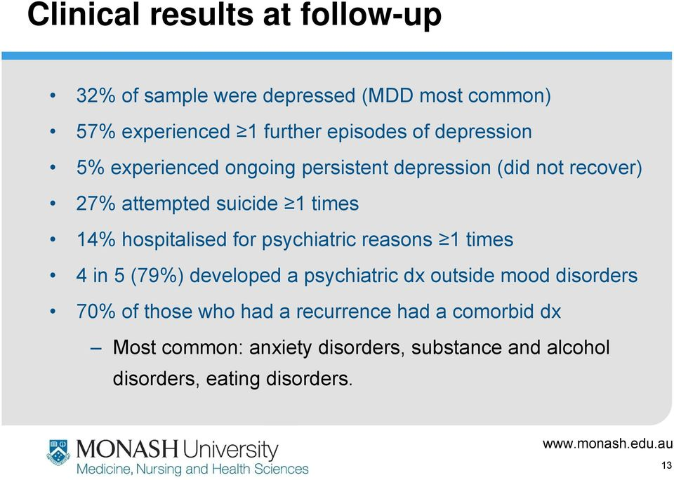 hospitalised for psychiatric reasons 1 times 4 in 5 (79%) developed a psychiatric dx outside mood disorders 70% of