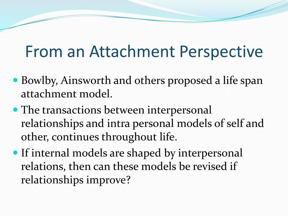 The transactions between interpersonal relationships and intra personal models of
