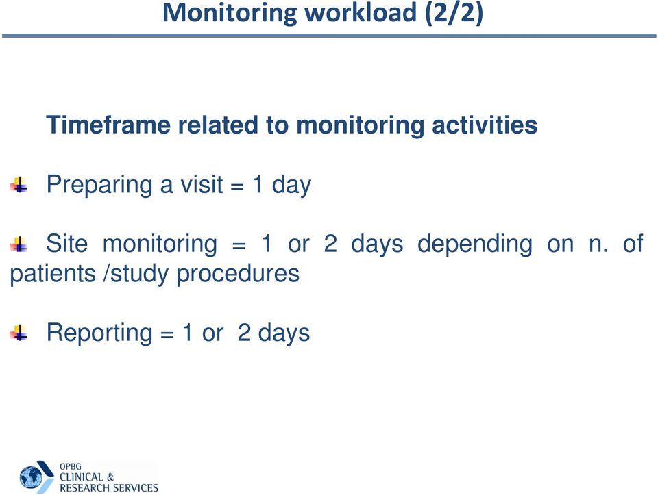 Site monitoring = 1 or 2 days depending on n.