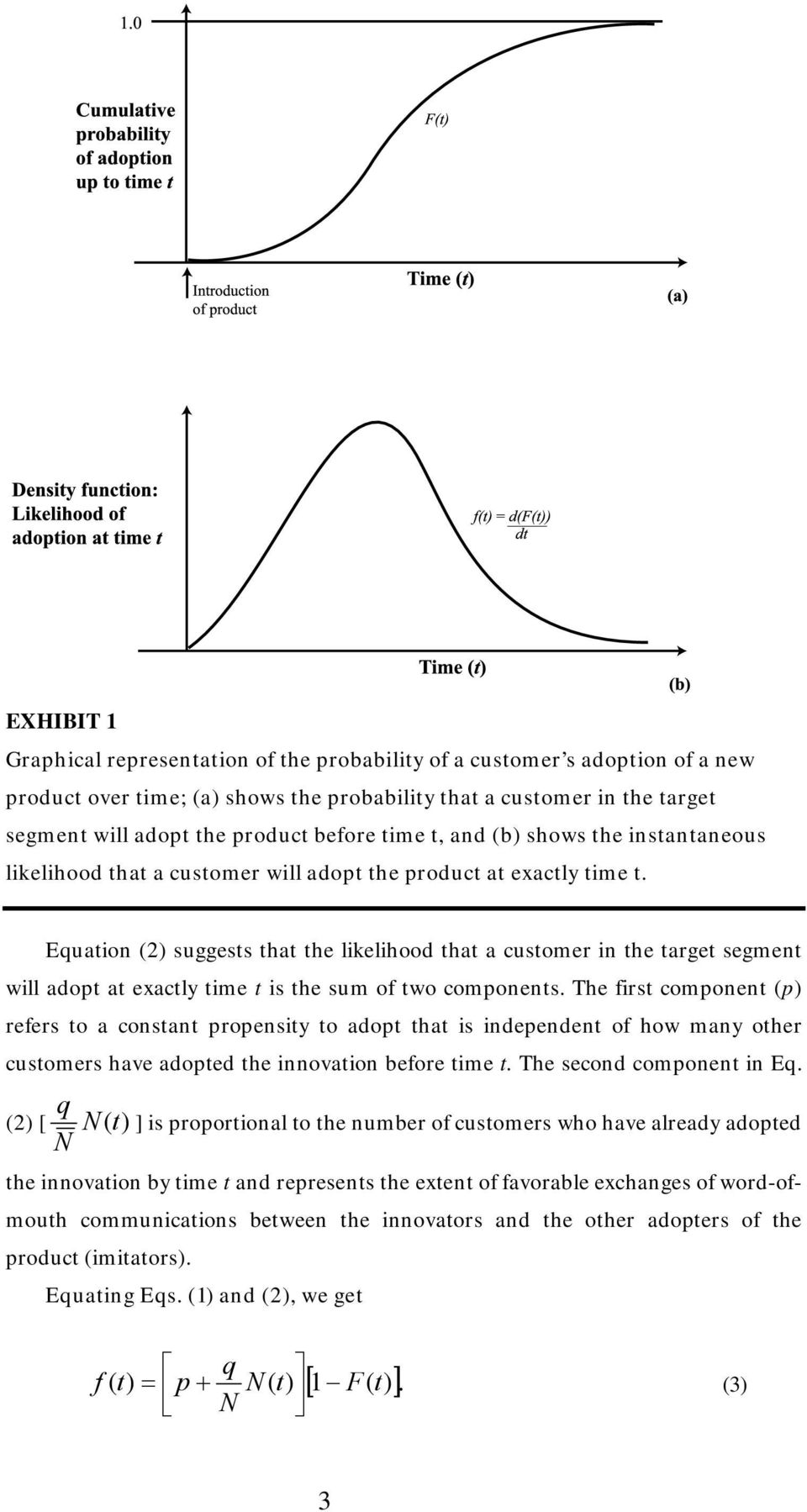 Equation (2) suggests that the likelihood that a customer in the target segment will adopt at exactly time t is the sum of two components.