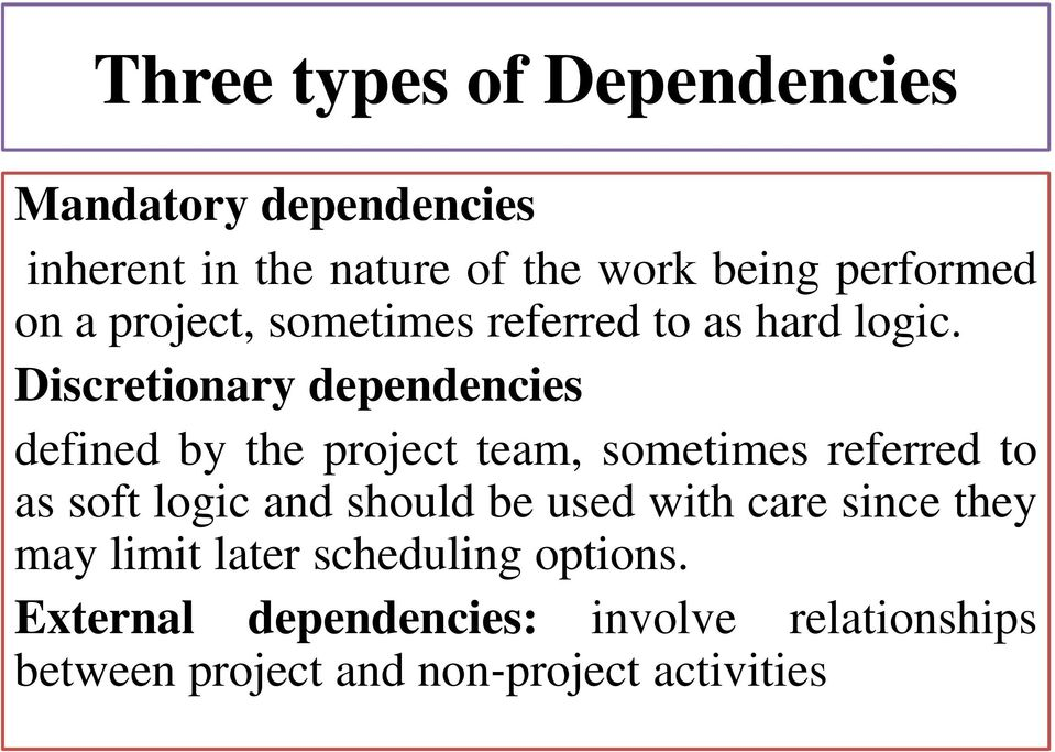 Discretionary dependencies defined by the project team, sometimes referred to as soft logic and