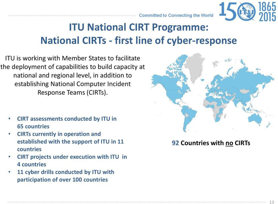 CIRT assessments conducted by ITU in 65 countries CIRTs currently in operation and established with the support of ITU in 11 countries CIRT
