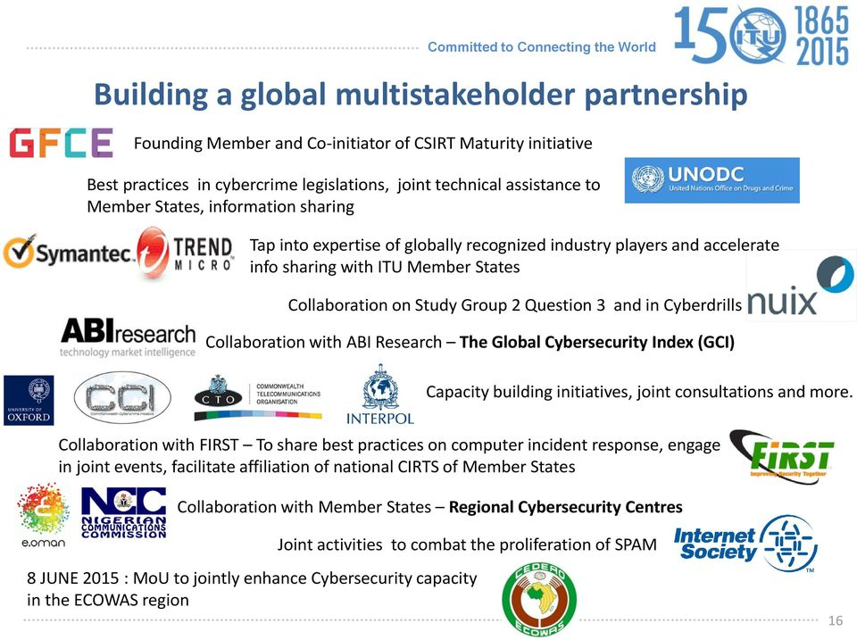 Collaboration with ABI Research The Global Cybersecurity Index (GCI) Capacity building initiatives, joint consultations and more.