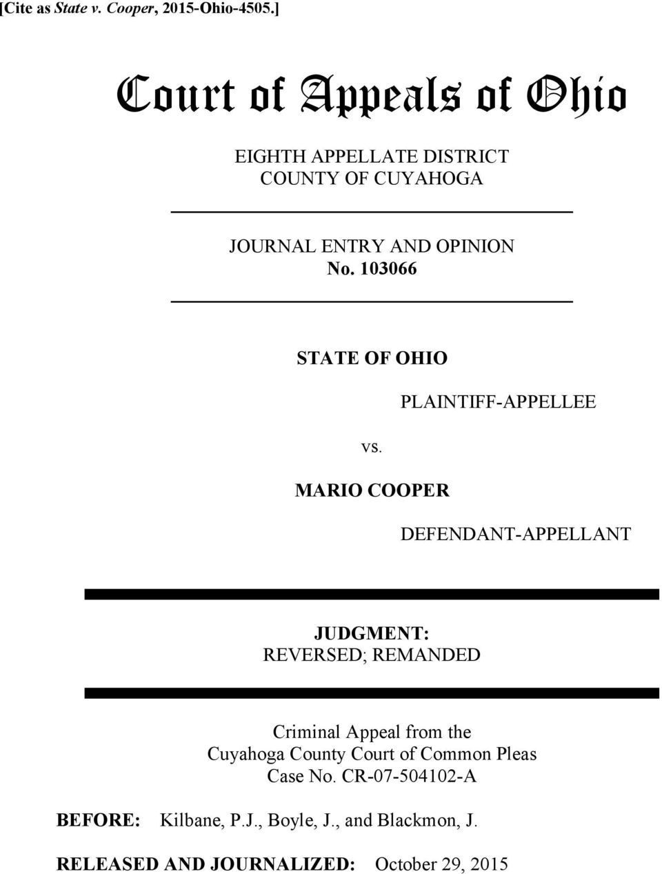 103066 STATE OF OHIO PLAINTIFF-APPELLEE vs.