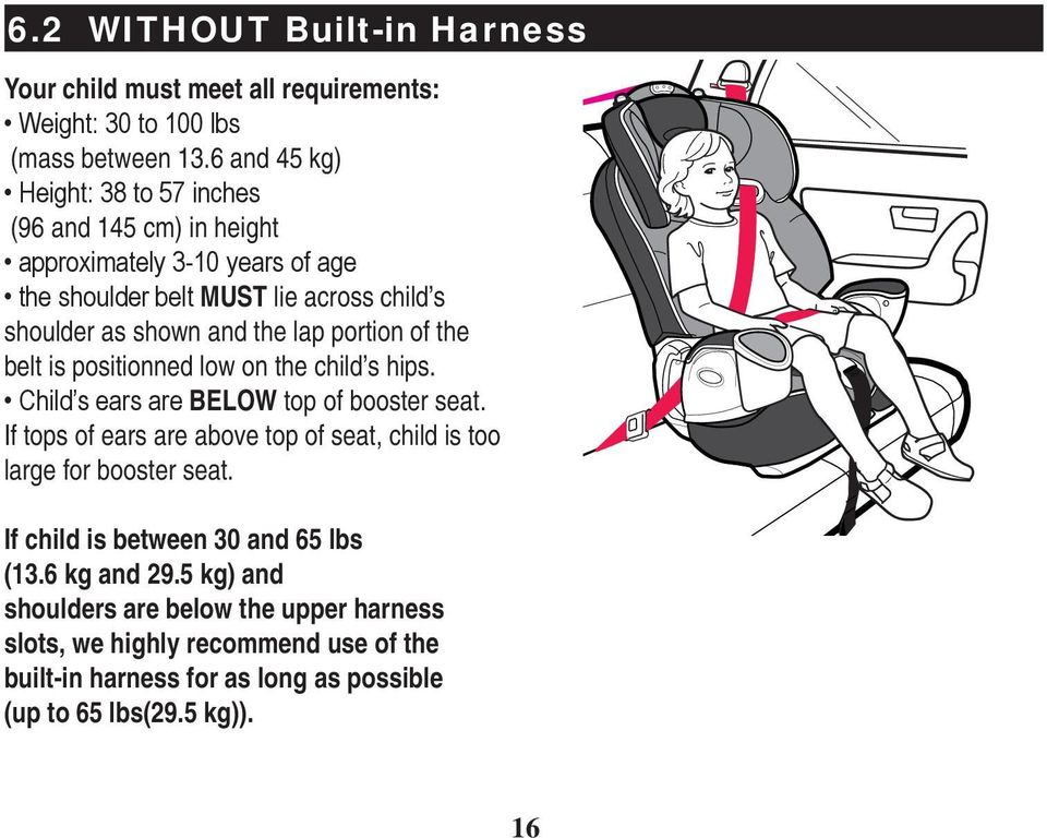 the child s hips. BELOW top of booster seat. If tops of ears are above top of seat, child is too large for booster seat.