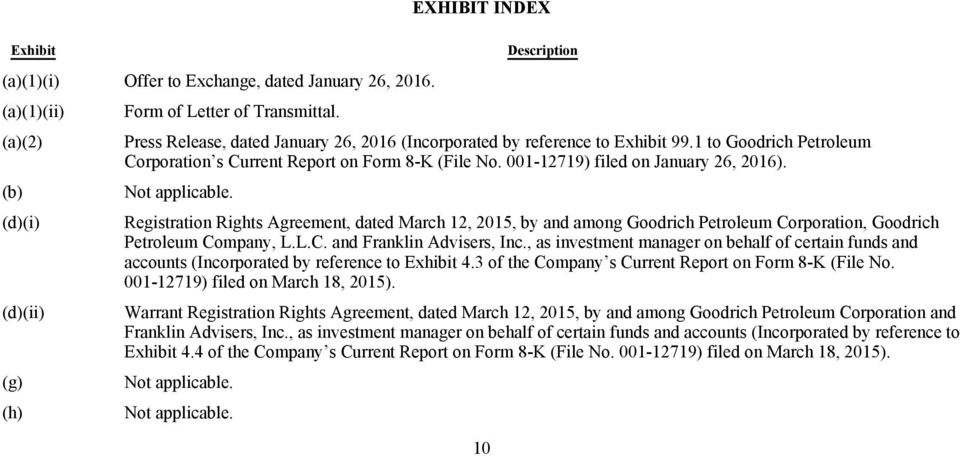 Not applicable. (d)(i) Registration Rights Agreement, dated March 12, 2015, by and among Goodrich Petroleum Corporation, Goodrich Petroleum Company, L.L.C. and Franklin Advisers, Inc.