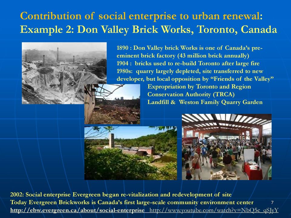 the Valley Expropriation by Toronto and Region Conservation Authority (TRCA) Landfill & Weston Family Quarry Garden 2002: Social enterprise Evergreen began re-vitalization and