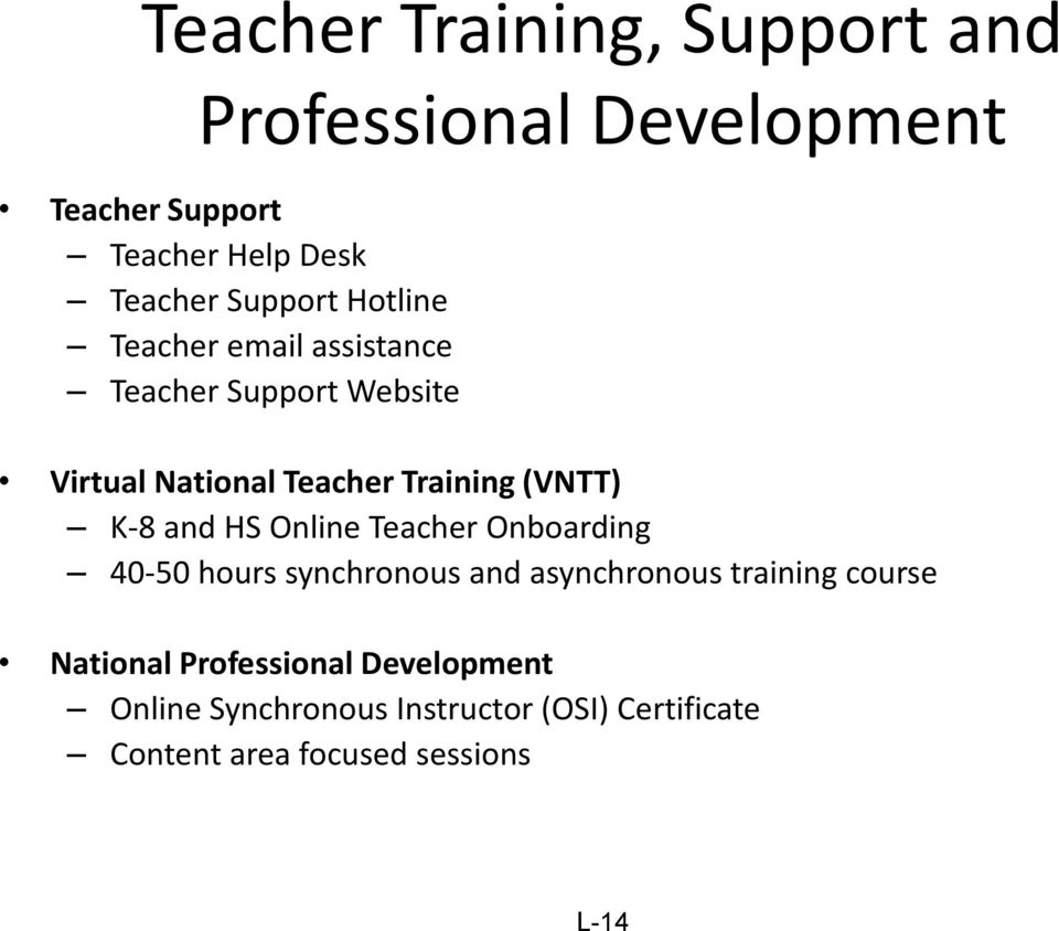(VNTT) K-8 and HS Online Teacher Onboarding 40-50 hours synchronous and asynchronous training course