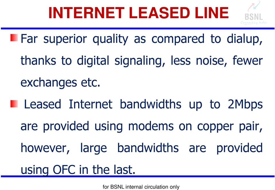 Leased Internet bandwidths up to 2Mbps are provided using modems on