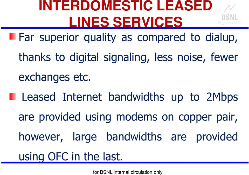 etc. Leased Internet bandwidths up to 2Mbps are provided using modems