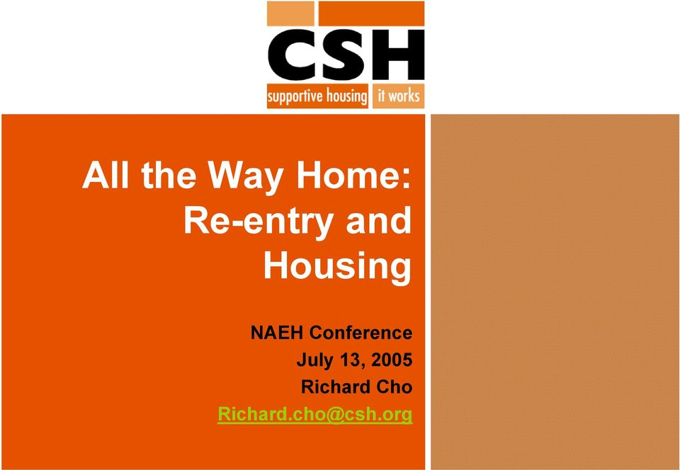 NAEH Conference July 13,