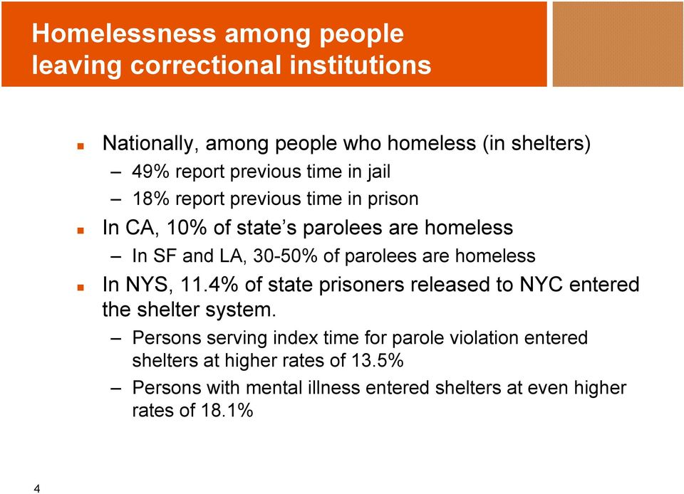 parolees are homeless In NYS, 11.4% of state prisoners released to NYC entered the shelter system.