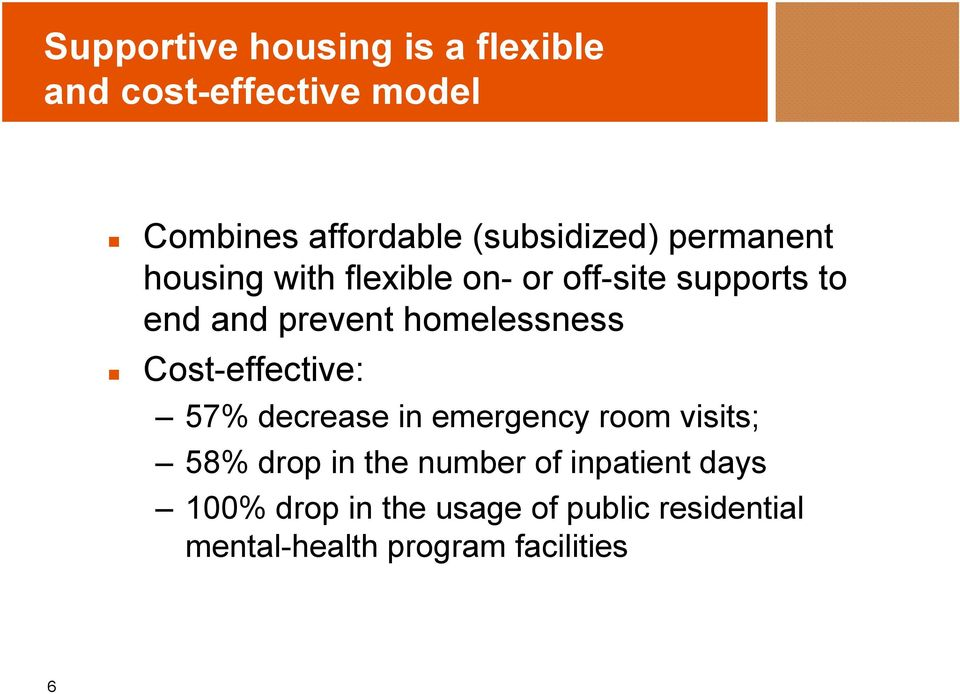 homelessness Cost-effective: 57% decrease in emergency room visits; 58% drop in the