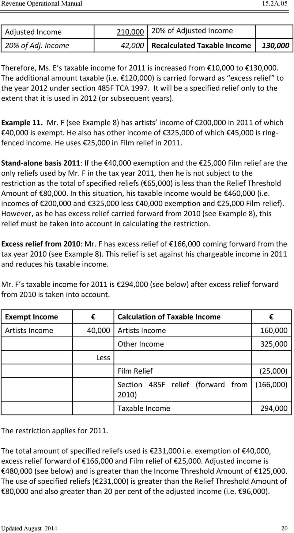 It will be a specified relief only to the extent that it is used in 2012 (or subsequent years). Example 11. Mr. F (see Example 8) has artists income of 200,000 in 2011 of which 40,000 is exempt.