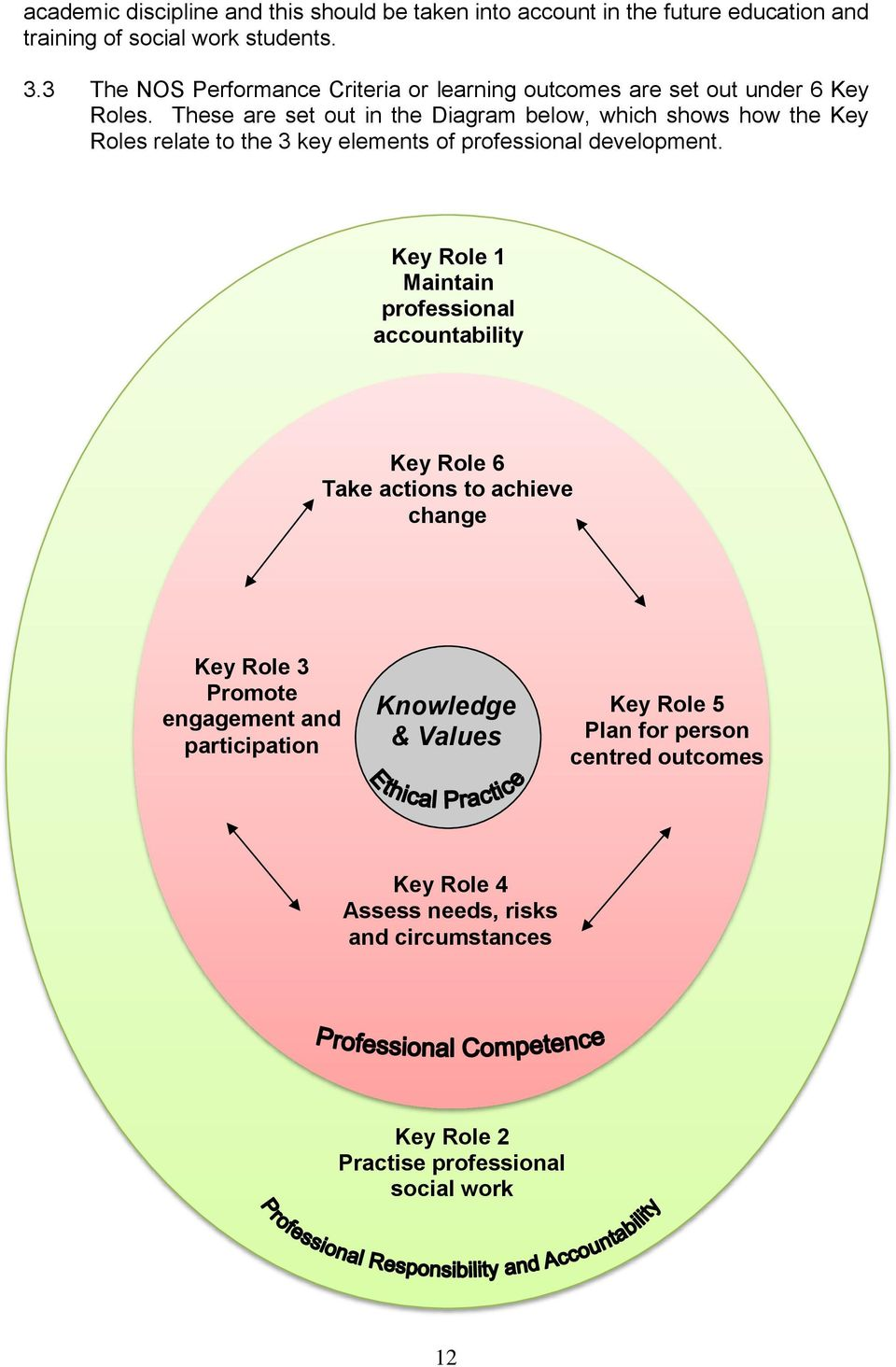 These are set out in the Diagram below, which shows how the Key Roles relate to the 3 key elements of professional development.