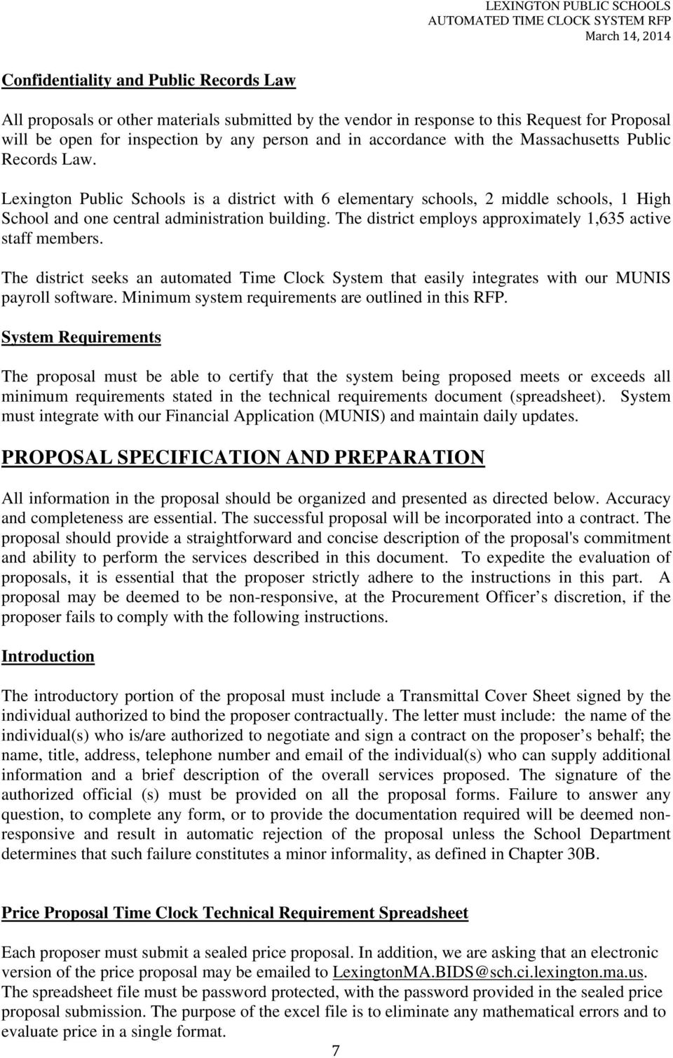 AUTOMATED TIME CLOCK SYSTEM REQUEST FOR PROPOSALS - PDF