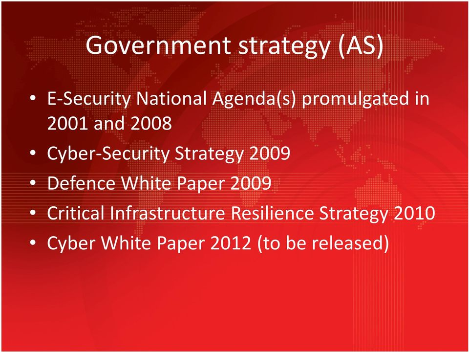2009 Defence White Paper 2009 Critical Infrastructure