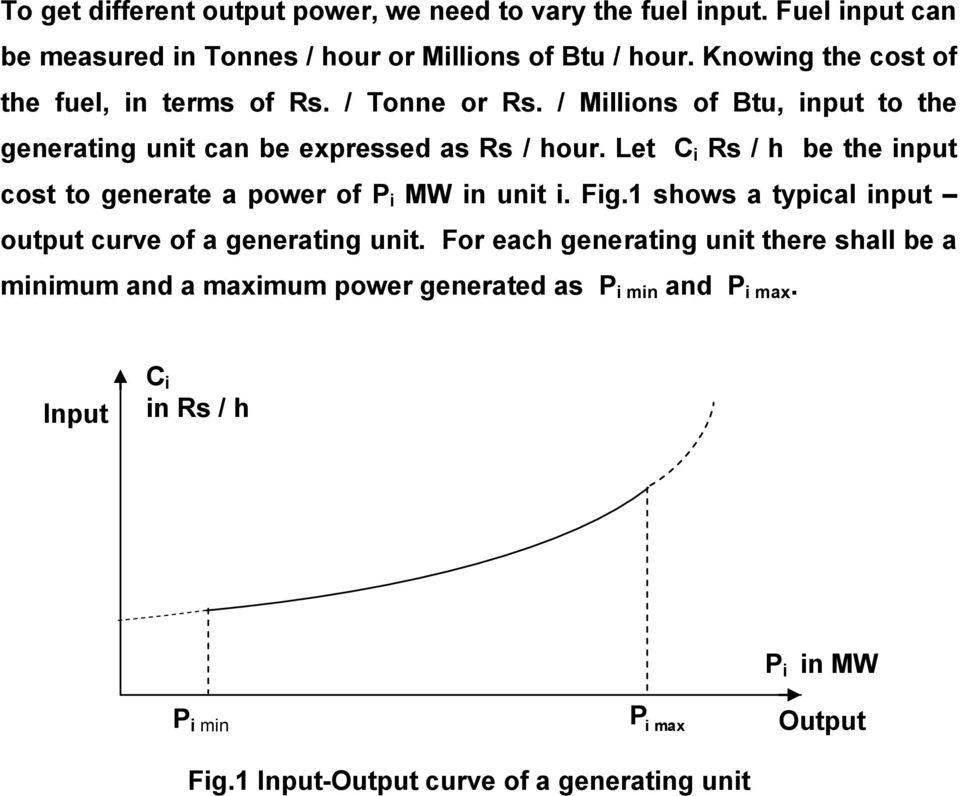 Let C Rs / h be the nput cost to generate a power of MW n unt. Fg. shows a typcal nput output curve of a generatng unt.