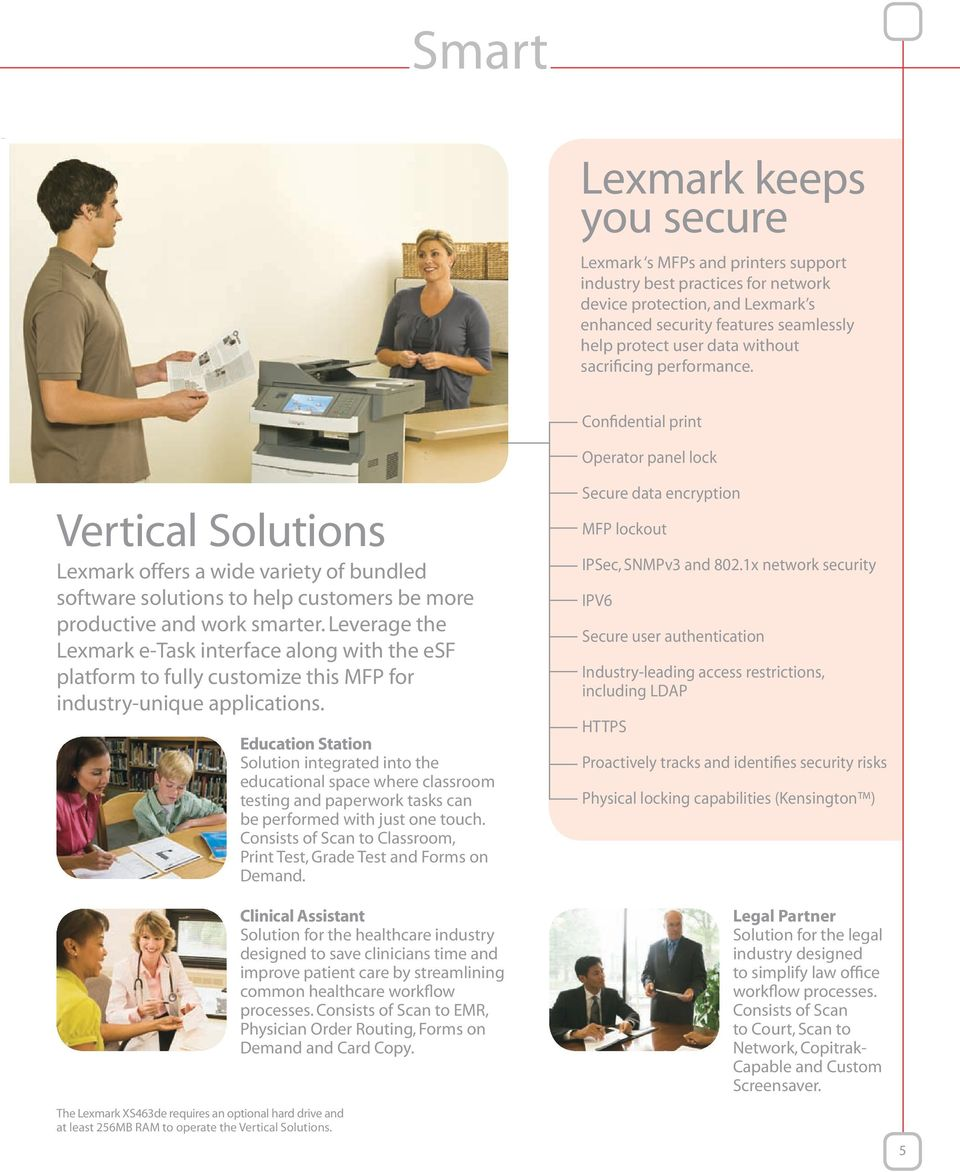 Confidential print Operator panel lock Vertical Solutions Lexmark offers a wide variety of bundled software solutions to help customers be more productive and work smarter.