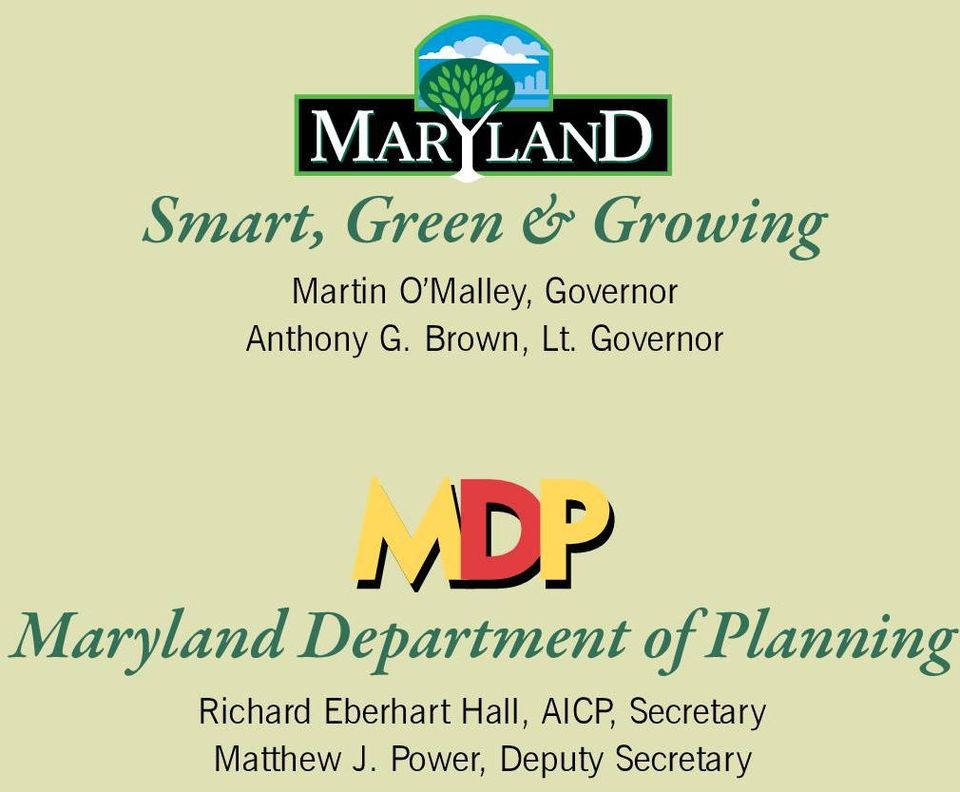 Governor Maryland Department of Planning