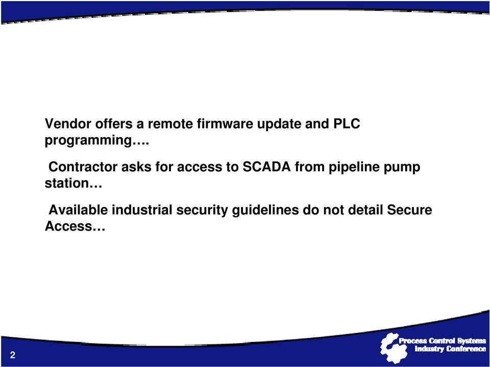 Contractor asks for access to SCADA from