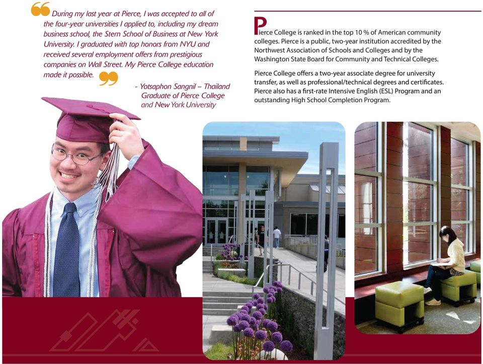 - Yotsaphon Sangnil Thailand Graduate of Pierce College and New York P ierce College is ranked in the top 10 % of American community colleges.